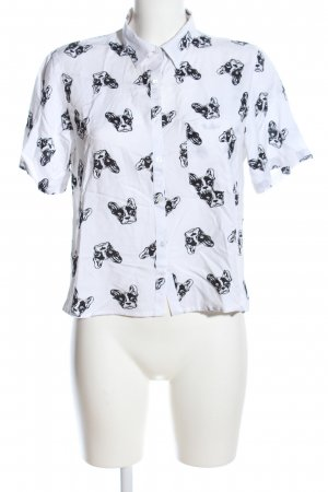 Love Notes Camisa de manga corta blanco-negro look casual