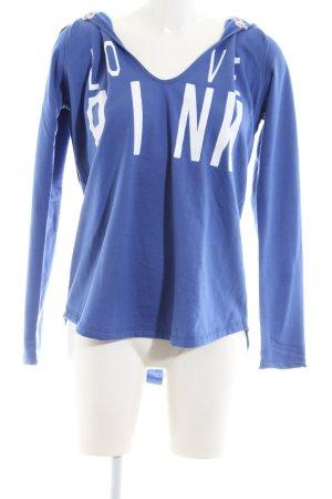 Love Pink Kapuzensweatshirt blau-weiß Schriftzug gedruckt Casual-Look