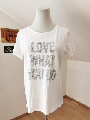 love what you do shirt baumwolle weiß Pailletten