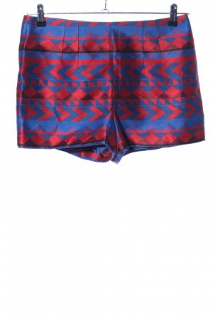 love21 High-Waist-Shorts blau-rot grafisches Muster Elegant