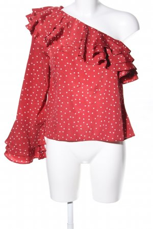 Lovers + friends Langarm-Bluse rot-weiß Allover-Druck Casual-Look