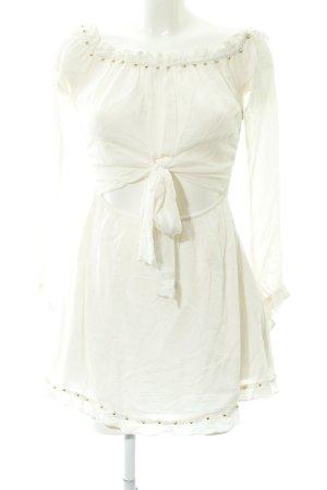Lovers + friends schulterfreies Kleid weiß Perlenverzierung