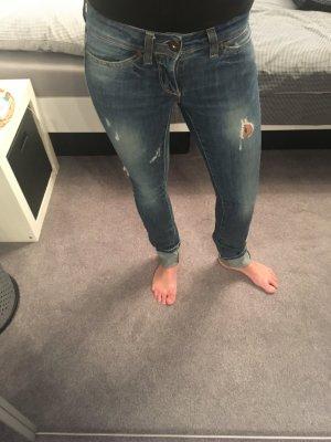 Low Waist Super Slim Jeans Destroy-Details dunkelblau W25 L34 Only