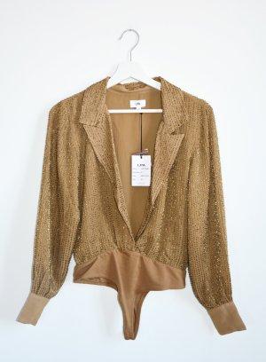 LPA Body suit 60 Blusenbody Camel bestickt Neu Gr. 34 XS Body Bluse