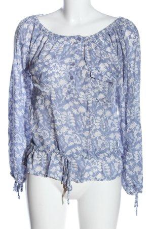 LTB Carmen-Bluse blau-weiß Allover-Druck Casual-Look
