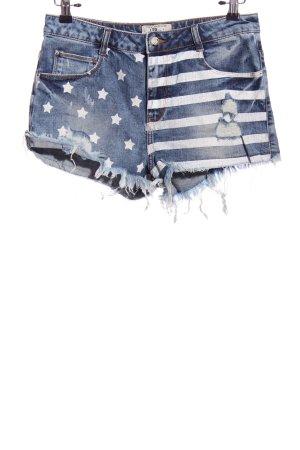 LTB Pantaloncino di jeans blu-bianco motivo a righe stile casual