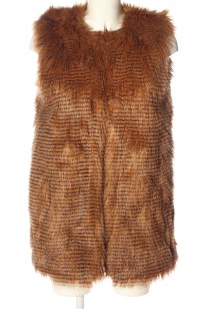 LTB Fake Fur Vest brown striped pattern casual look
