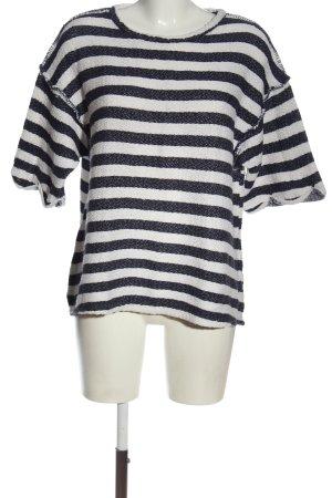 LTB Pull à manches courtes noir-blanc motif rayé style décontracté