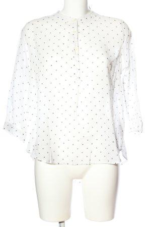 LTB Langarm-Bluse weiß-schwarz Punktemuster Business-Look