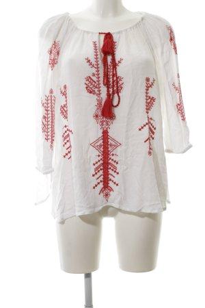 LTB Langarm-Bluse weiß-rot klassischer Stil