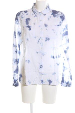 LTB Langarmhemd weiß-blau abstraktes Muster Business-Look