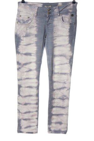 LTB Pantalón de tubo azul-blanco estampado con diseño abstracto look casual