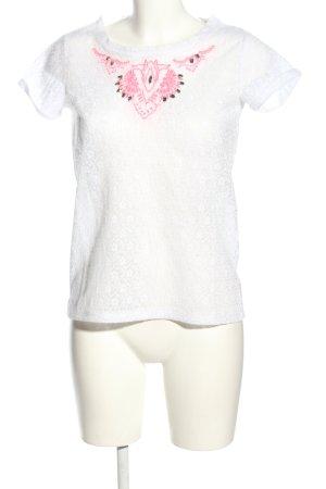 LTB Camicia maglia bianco-rosa Stampa a tema stile casual