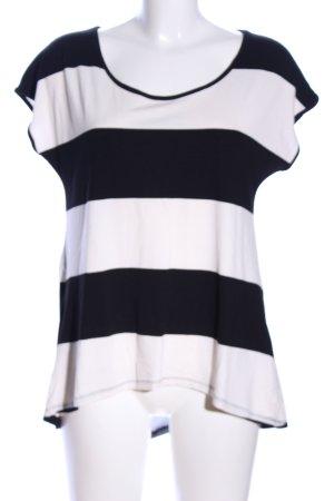 LTB T-Shirt schwarz-wollweiß Streifenmuster Casual-Look