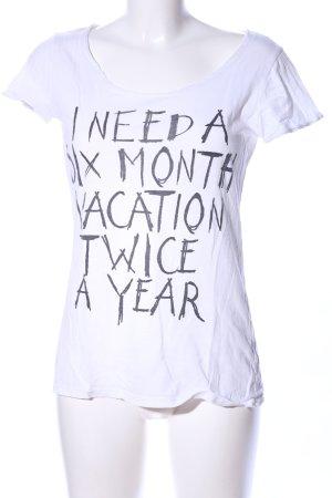 LTB T-Shirt weiß-schwarz Schriftzug gedruckt Casual-Look