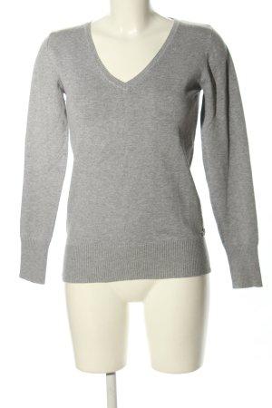 LTB V-Ausschnitt-Pullover hellgrau meliert Casual-Look