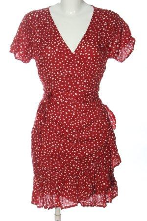 LTB Vestido cruzado rojo-blanco estampado repetido sobre toda la superficie