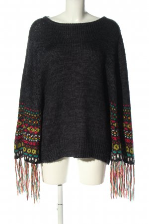 Lua Knitted Poncho graphic pattern casual look