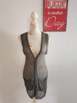 Gilet long tricoté gris coton