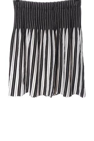 Luc.8 Gonna lavorata a maglia nero-bianco motivo a righe stile casual