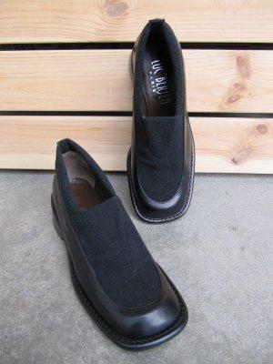 Luc Berjen Leder Slipper Business Halbschuhe Schuhe Schlüpfschuhe schwarz Gr.37