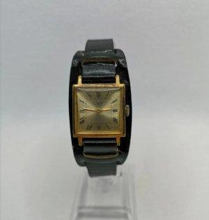 Luch Zegarek ze skórzanym paskiem czarny-złoto