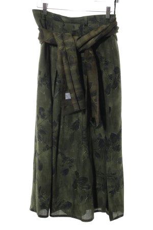 Lucia Faltenrock khaki-schwarz Vintage-Look