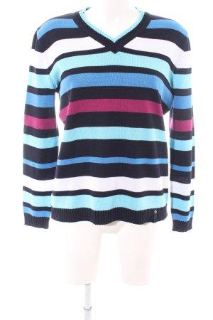 Lucia V-Ausschnitt-Pullover Streifenmuster Casual-Look