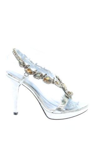 Luciano Barachini T-Strap Pumps silver-colored-gold-colored elegant