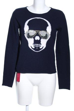 lucien pellat-finet Cashmerepullover blau-weiß Motivdruck Casual-Look