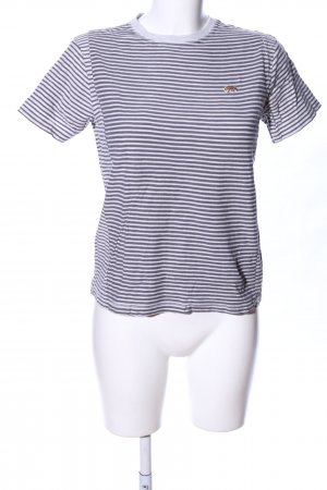 Lucky Brand T-Shirt hellgrau-weiß Streifenmuster Casual-Look