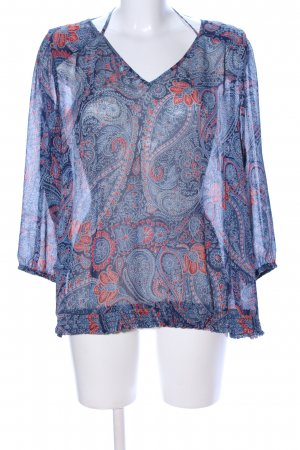Lucky Brand Transparenz-Bluse blau-rot Allover-Druck Casual-Look