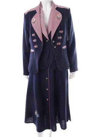 Lucretia Kostüm rosa-dunkelblau Holzknöpfe