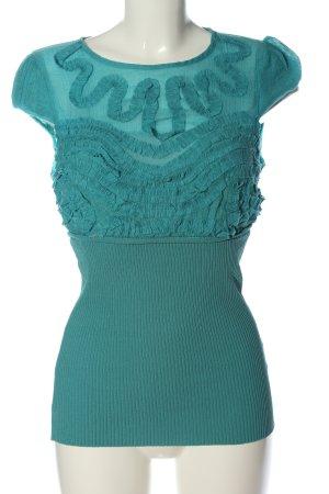 lucy&co Camisa de cuello barco turquesa look casual