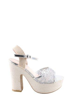 Ludovica Plateauzool Sandalen met Hoge Hakken zilver-room extravagante stijl