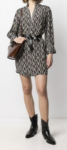 Ba&sh Sukienka mini czarny-kremowy