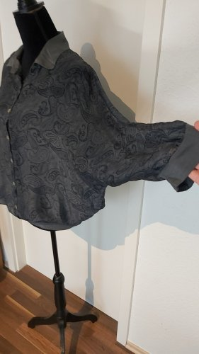 Made in Italy Blouse transparente gris foncé-bleu foncé