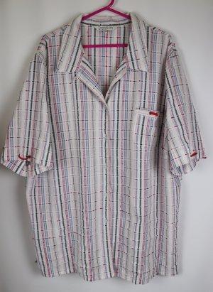 Luftige Bluse Hemd Oversize Donna Lisa by Borgelt Größe 52 54 Weiß Rot Blau Karo Gewebt Kariert Boucle Optik