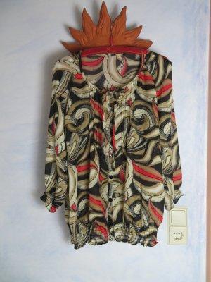 luftige Bluse in Herbstfarben - crazy Muster 70er Jahre Stil - Größe M - Hippie-Style