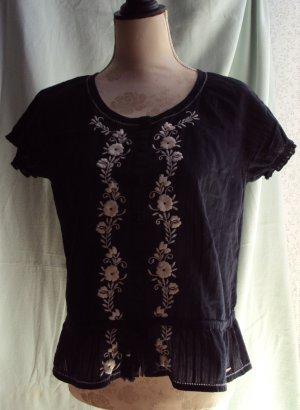 Luftige Bluse mit Blumenstickerei, Gr. M