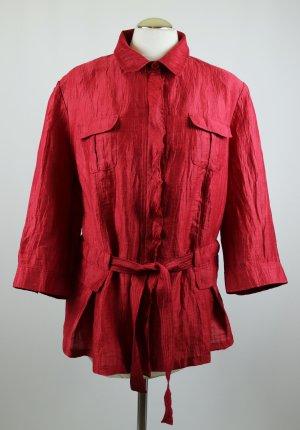 Luftige Blusenjacke Cardigan Bluse Lebek Größe XXL 44 Rot Erdbeerrot Crash Gürtel Hemd Leichte Sommer Jacke