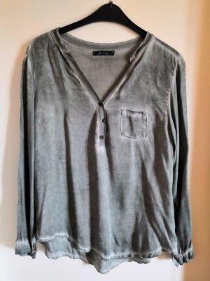 luftige, fließend fallende Langarm-Bluse in grüngrau