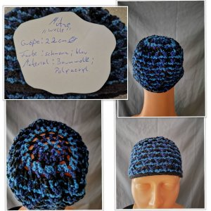 Cappello all'uncinetto blu