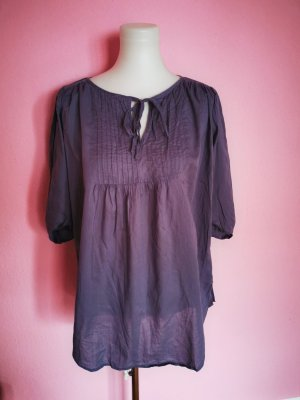 Monrow Short Sleeved Blouse grey violet cotton