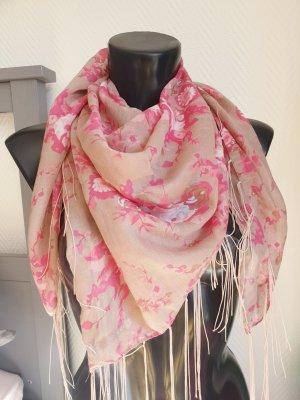 Luftiger Schal  Tuch m. Blumenmuster