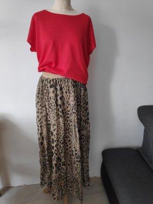 Jupe longue marron clair-chameau soie