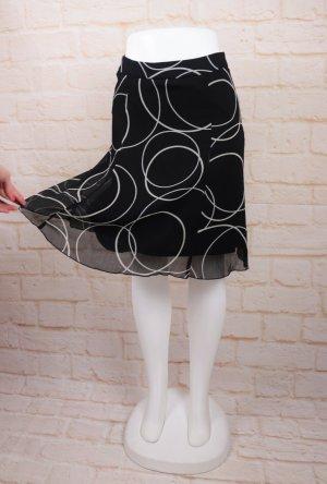 Luftiger Sommerrock Minirock Esprit Größe S 36 Schwarz Weiß Kreise Punkte Krepp Chiffon A