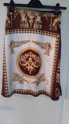 SheIn Spódnica midi ciemnobrązowy-złoto Poliester