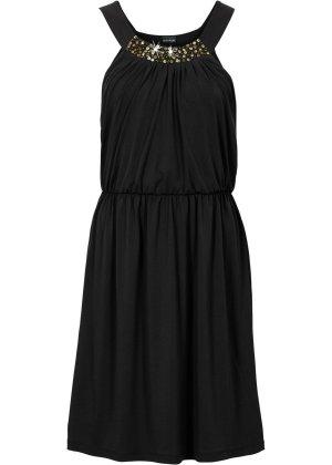 luftiges Cocktail Party Kleid Sommerkleid Gr. 40 - 42 L - XL Abendkleid bodyflirt Neu Schwarz mit Rundhals und Pailletten verziert Gr. 40 - 42 Länge ca. 94 cm Achselbreite ca. 44 cm