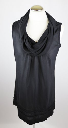 Luftiges Hängerchen Top Zero Größe S 36 Schwarz Baumwolle Viskose Lang Schalkragen Rüschen Turtelneck Shirt